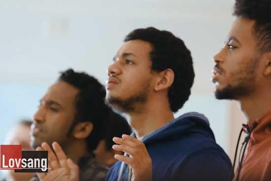 Worship at BiT Bible School in Trondheim, Norway