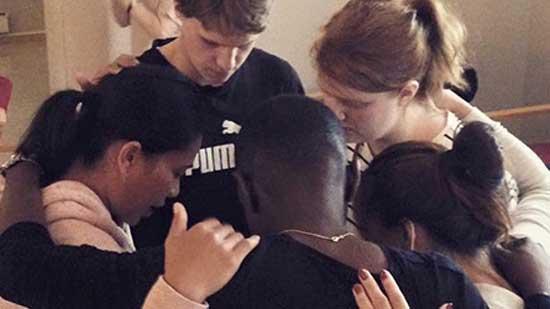 Prayer at BiT Bible institute in Trondheim